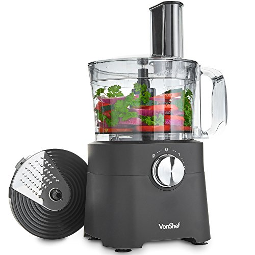 VonShef Food Processor, 8 Cup, Blender, Chopper, Multi Mixer Combo with Chopping Blade and Shredder Attachments, 500 Watts