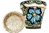 Spanish Garden Pot and Saucer - Ceramic - Green Design - Hand Painted