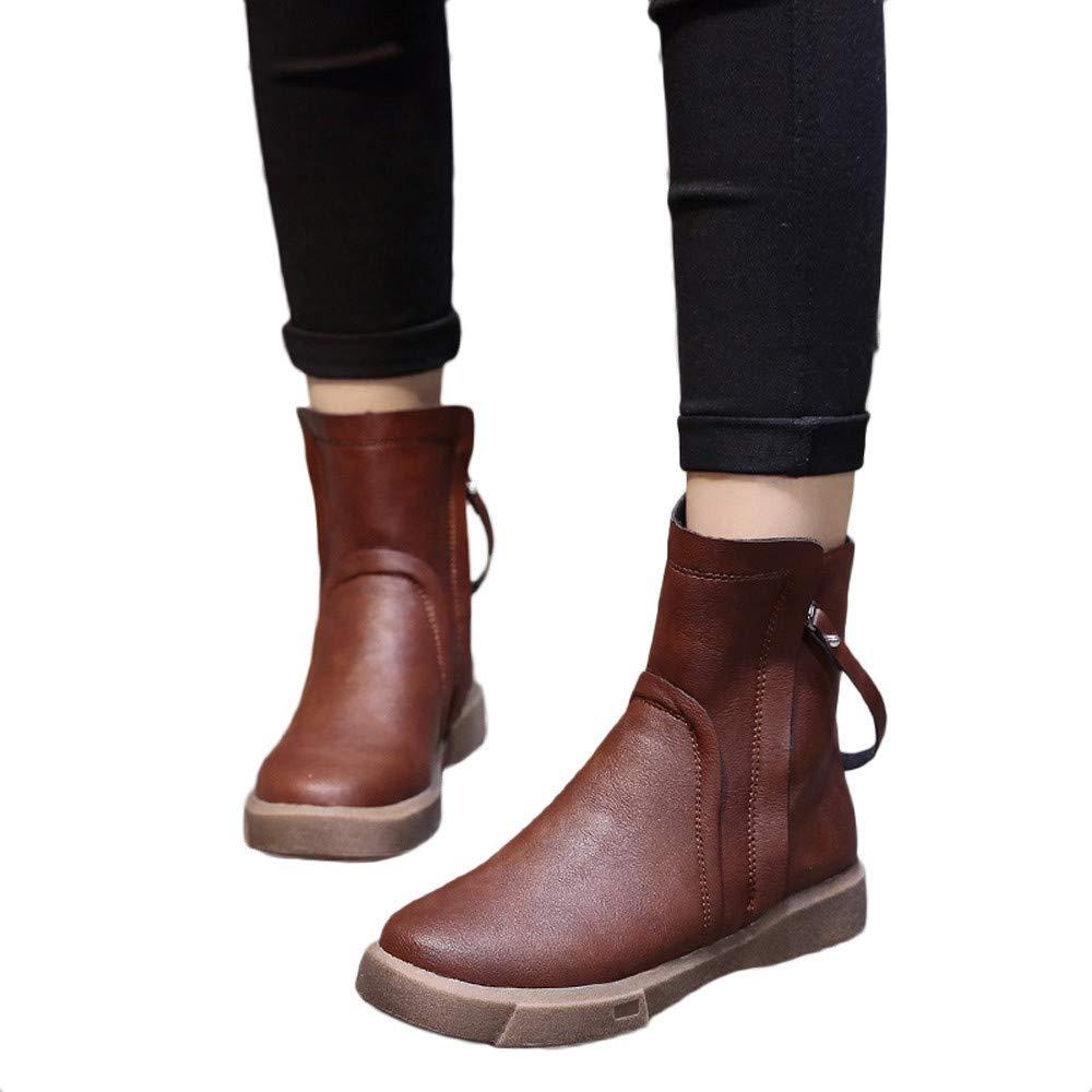 ZahuihuiM Femmes Bottes en Cuir /À La Mode Talons Bas Zipper Tube Court Bottes Casual Chaussures Moyen Tube Bottes