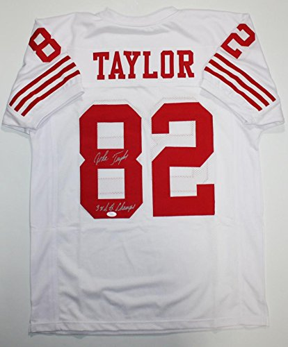 (John Taylor Autographed White Pro Style Jersey W/ SB Champs- JSA Witness Authenticated)