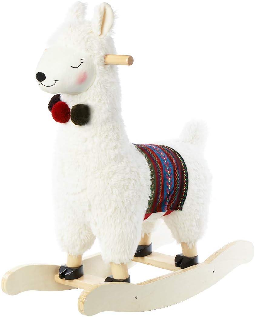 JOLIE VALLÉE TOYS & HOME Caballo balancín de peluche de alpaca, juguete balancín de madera, regalo para niños, 1,2,3 años