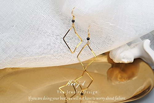 (TKHNE Yu Ling Goddess light jewelry imported 18 gold - simple fashion personality and elegant natural black spinel earrings)