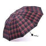Guoke The Grid, Male, Folding Umbrella Very Large Business Umbrella Umbrellas With A Fine Two Umbrellas, Red - Haig Sub