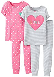 Carter's Baby Girls' 4 Piece Print PJ Set (Baby) - Love to Dream - 6 Months