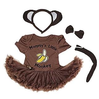 Petitebella Mommy's Little Monkey Banana Bodysuit Brown Tutu 4pc Set Nb-18m (0-3 Months)
