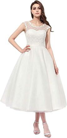 Vintage Lace Wedding Dresses Short 1950s Polka Dotted Tea Length