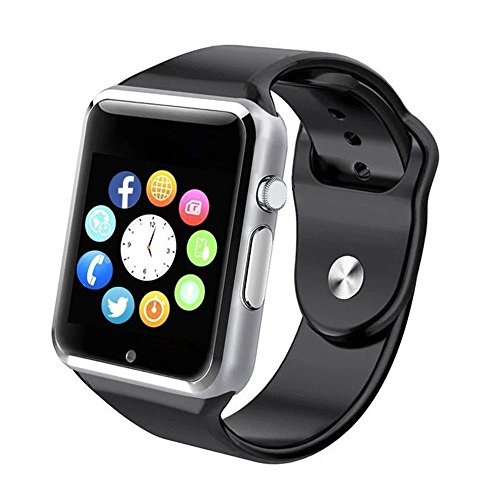 Bluetooth Smart Watch - WJPILIS Touch Screen Smart Wrist Watch Smartwatch Phone with SIM Card Slot Camera Pedometer Sport Tracker Compatible iOS iPhone Android Samsung LG for Men Women Child (Silver)