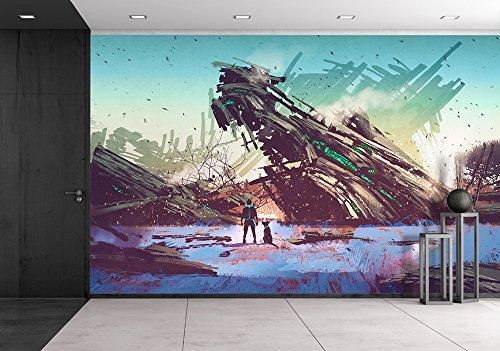 Illustration Spaceship Crashed on Blue Field Illustration Painting