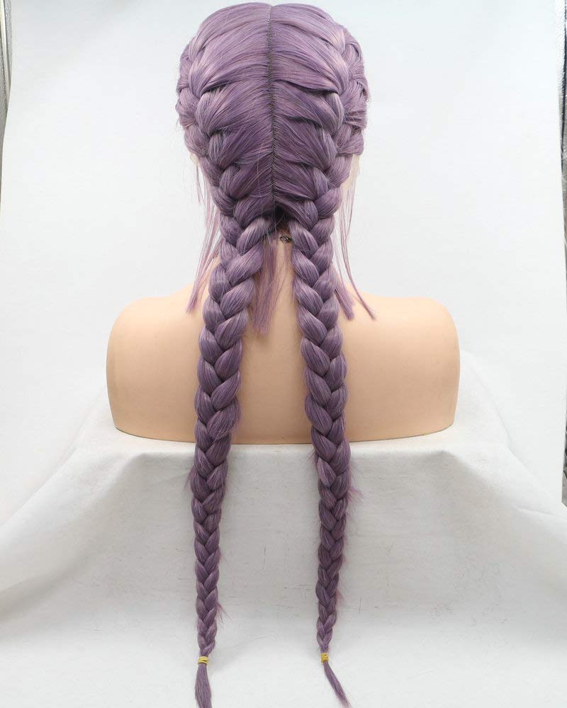 New Arrival Mixed Lavender/Purple Double Braided Wigs With Baby Hair Handmade Lace Front Wigs For Women Cosplay Wedding Holidays Wigs Heat Resistant Synthetic Wig Natural 2x Twist Braids Long Hair 24'' by Yinuozhogntian