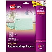 "Avery Matte Frosted Clear Etiquetas de remite para impresoras láser, 1/2 ""x 1-3 /4"", 800 etiquetas (15667)"