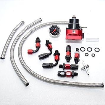 Tuning regulador de presión de gasolina Juego dash6 con manómetro ajustable AN6: Amazon.es: Coche y moto