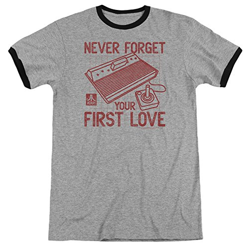 (Atari First Love Mens Adult Heather Ringer Shirt Heather/Black Xl)