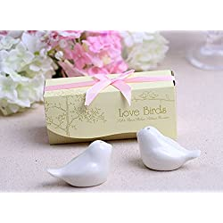Love birds in The Window Ceramic Salt and Pepper Shakers for Wedding Favors, Set of 100