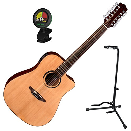 Luna Wabi Sabi 12-String Dreadnought Cutaway Acoustic Electric Guitar w/Tuner a