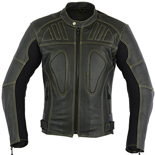 - Designer Mens Vented Leather Motorbike Jacket for Bikers, S