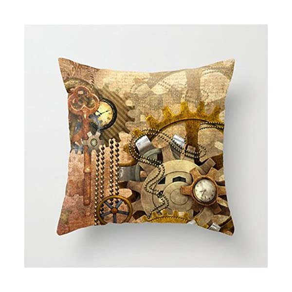 My Honey Pillow Case Steampunk Polyester Throw Pillow Cover Square 18 x 18 Inches 3