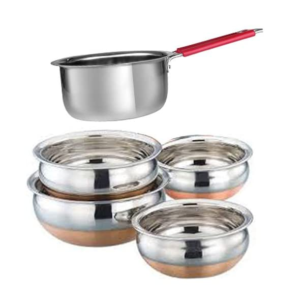 Jalpan's Cookware Set- Stainless Steel 5 Pieces