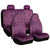 FH GROUP FH-FB125114 Leopard Car Seat Covers, Airbag compatible and Split Bench, Purple Leopard