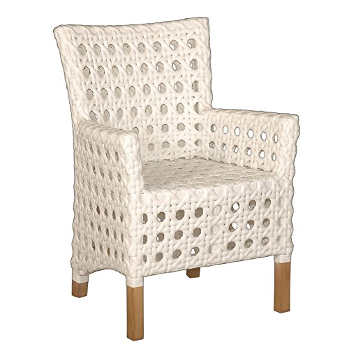 Crafted Home Decorative Modern Indoor/Outdoor Chair, 25″ Length by 25″ Width by 35″ Height, White For Sale