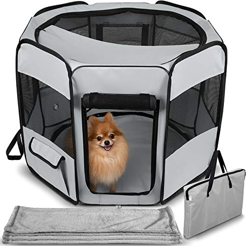 Dog Playpen with Blanket - Portable Soft Sided Mesh Indoor & Outdoor Exercise Play Pen for Pets - -