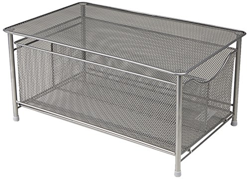 Mesh Shelf - Mind Reader CABASKDR-BLK Silver Metal Basket with Sliding Drawer and Steel Mesh Platform On Top Storage