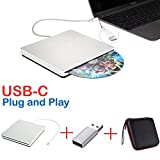 External DVD CD Drive NOLYTH USB C Superdrive DVD/CD +/-RW ROM Player Burner Writer Drive for Apple/Mac/MacBook Pro Air/Laptop/Windows10(Silver)