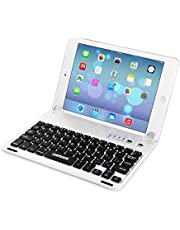 ARTECK Ultra-Thin Apple iPad Mini Bluetooth Keyboard Folio Case Cover with Built-In Stand Groove for Apple iPad Mini 3/2 / 1 / iPad Mini with Retina Display with 130 Degree Swivel Rotating Silver