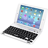 Arteck Ultra-Thin Apple iPad Mini Bluetooth Keyboard Folio Case Cover with Built-In Stand Groove for Apple iPad Mini 3 / 2 / 1 / iPad Mini with Retina Display with 130 Degree Swivel Rotating _ Silver