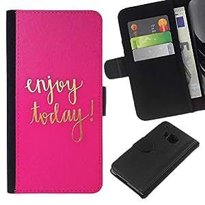 Hoy texto motivación oro rosa- la tarjeta de Crédito Slots PU Funda de cuero Monedero caso cubierta de piel Para HTC One M9