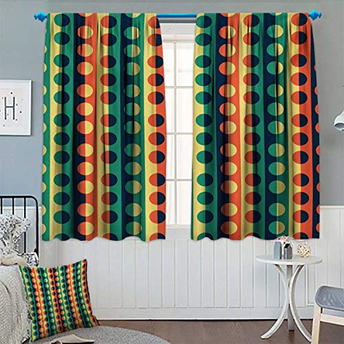 - Anhounine Geometric Circle,Blackout Curtain,Pop Art Style Vertical Striped Half Pattern Ring Forms Retro Poster Print,Blackout Window Curtain,Orange Teal,W84 x L72 inch