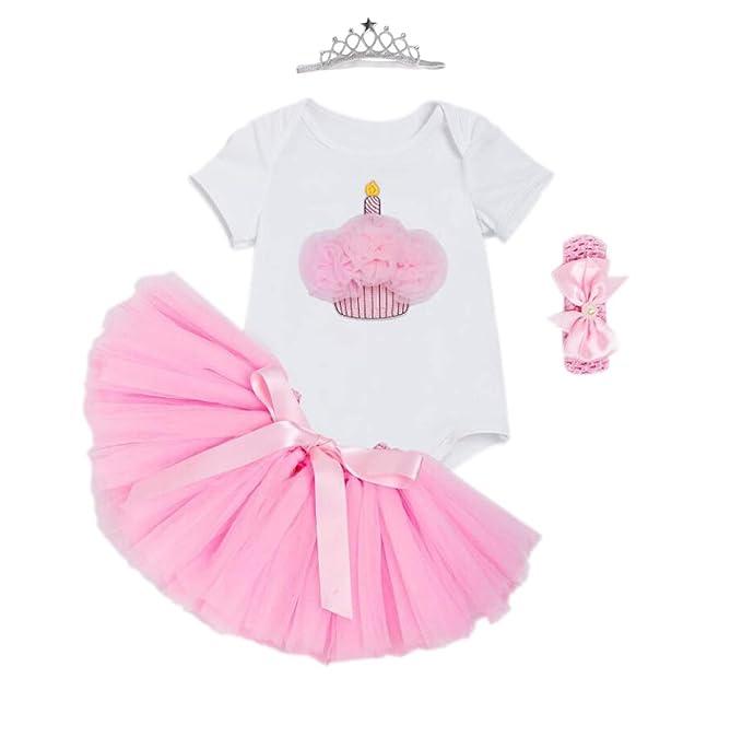 9eefcb3ddf34 Marlegard® Baby Girls  3PCs 1st Birthday Tutu Onesie Headband Bubble Skirt  (12M(