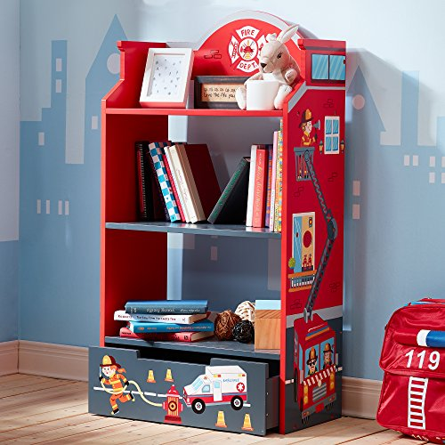e Fire Fighters Themed Kids Wooden Bookcase with Storage ()