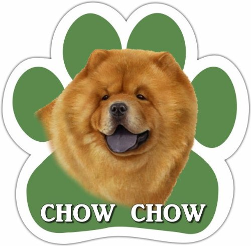 Chow Car Magnet With Unique Paw Shaped Design Measures 5.2 by 5.2 Inches Covered In UV Gloss For Weather Protection