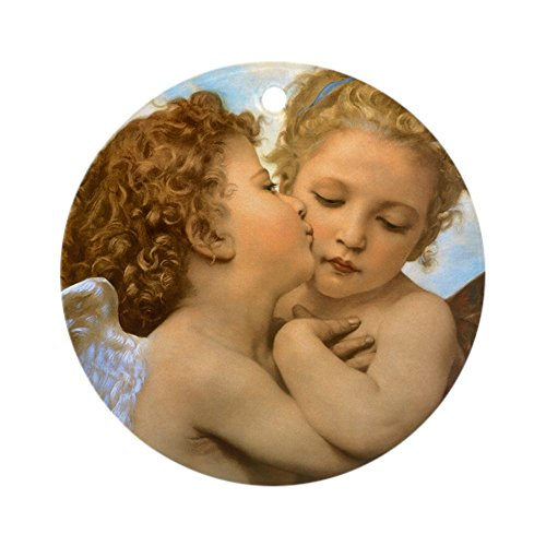 CafePress First Kiss by Bouguereau Ornament (Round) Round Holiday Christmas Ornament