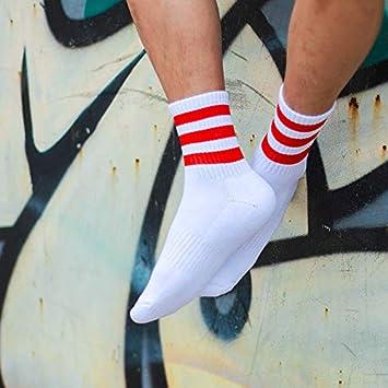 WXHNZYQ Medio tubo calcetines de los hombres de toallas inferior espesado rayó calcetines Colegio Breeze algodón