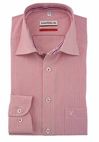 MARVELIS Modern Fit Hemd Langarm New Kent Kragen Streifen rot