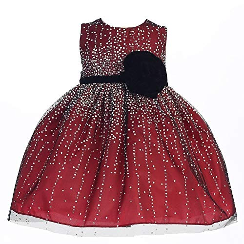 Crayon Kids Baby Girls Red Velvet Flower Sash Sequin Christmas Dress 12M