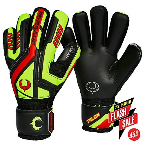 - Renegade GK Talon Revolt Negative Cut Level 2 Goalie Gloves Finger Spines (Pro-Tek) - Goalkeeper Gloves Size 11 Black, Neon Yellow, Red - Great Goalkeeer Gear