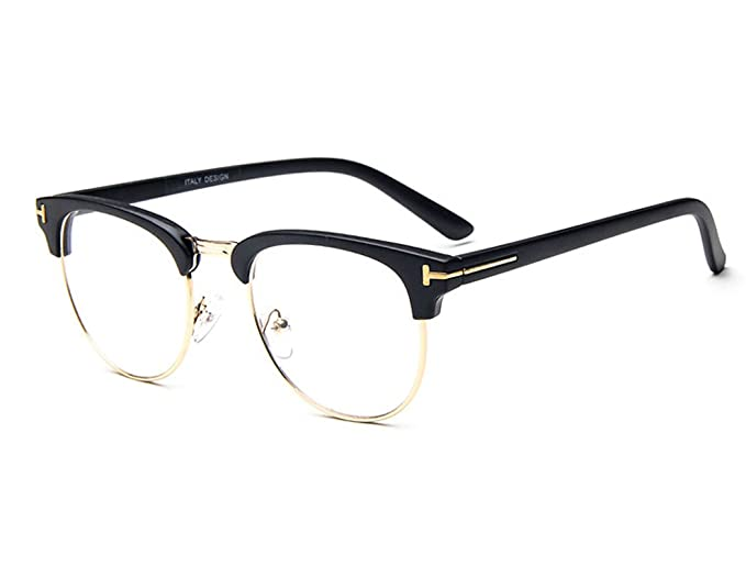ff20939ebd7 D.King Unisex Vintage Inspired Classic Half Frame Horn Rimmed Clear Lens  Black-gold