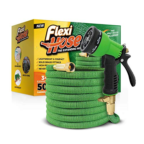 """Flexi Hose Upgraded Expandable Garden Hose Extra Strength, 3/4"""" Solid Brass Fittings The Ultimate No-Kink Flexible Water Hose,8 Function Spray Included, Green"""