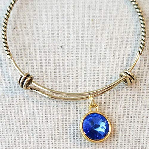 September Birthday Birthstone Gifts Under 20 Antique Gold SEPTEMBER SAPPHIRE Birth Month Charm Bangle Bracelet Gift For Daughter Sister Girlfriend