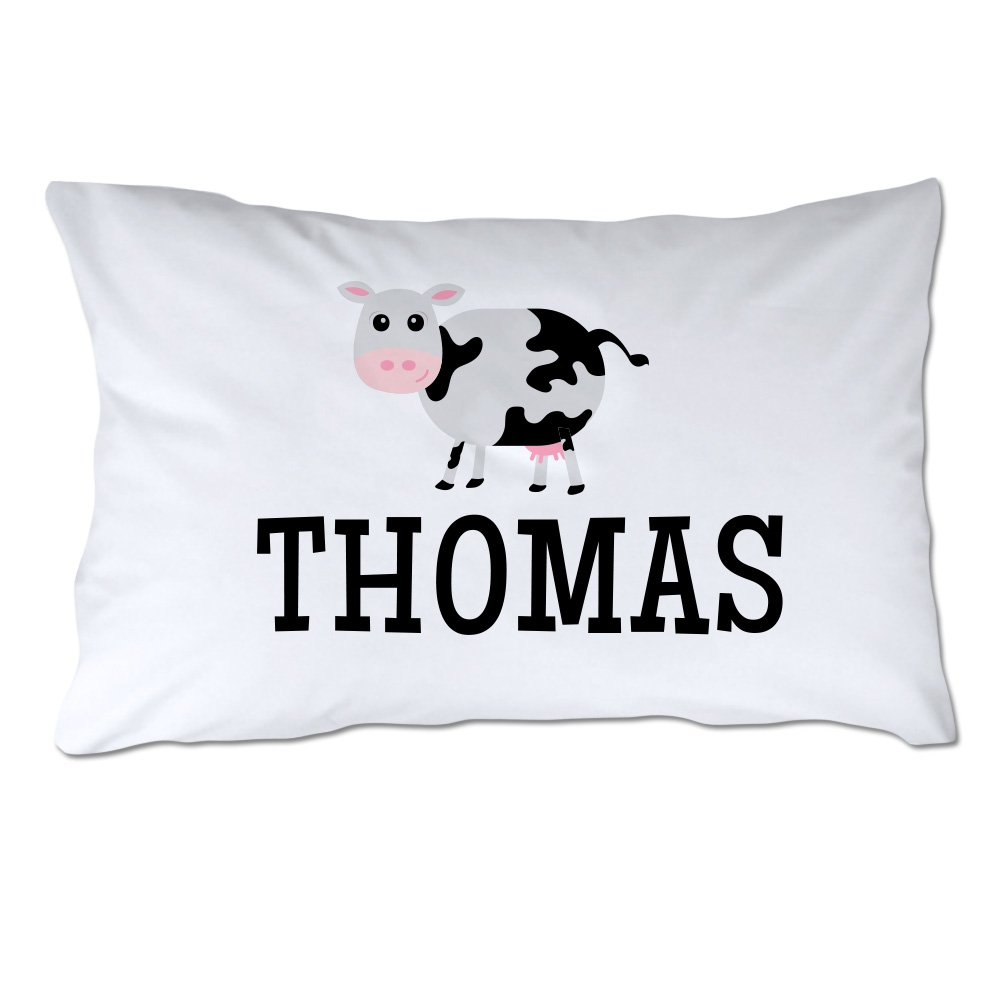 Personalized Toddler Size Cow Pillowcase with Pillow Included