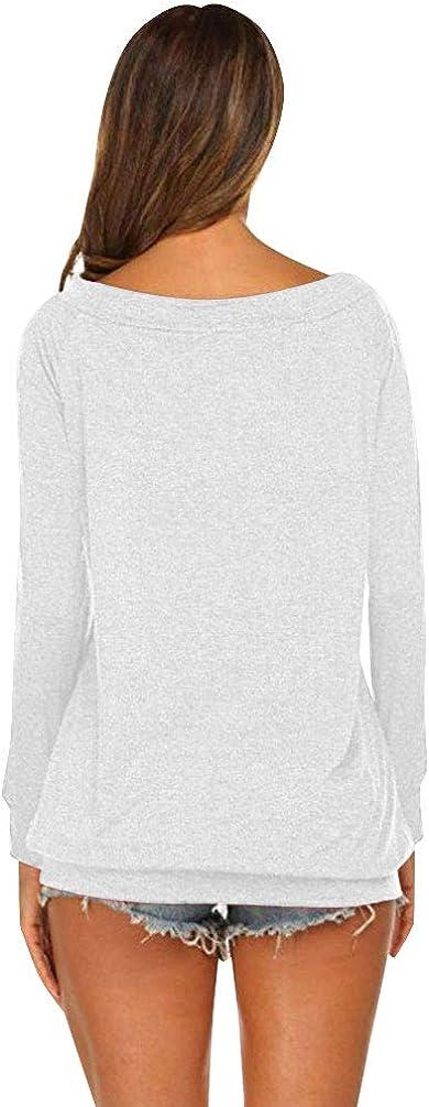 heekepk Camiseta de Mangas Largas Escote de Hombros Ca/ídos Camisa Casual para Mujer