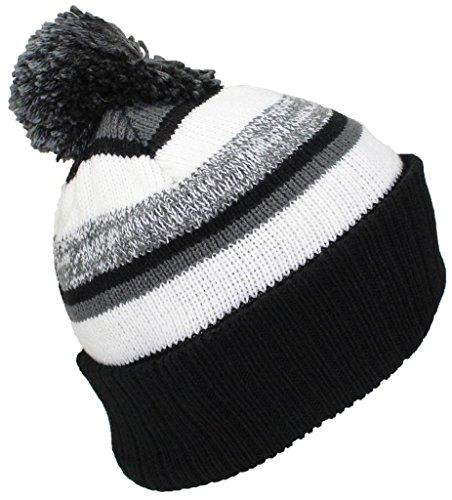 (Best Winter Hats Quality Striped Variegated Cuffed Beanie W/Pom (L/XL) - Black/Dark Gray/White)