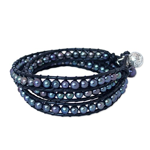 NOVICA Leather and Dyed Cultured Pearl Wrap Bracelet with 950 Silver Accent, New Midnight Tribal'