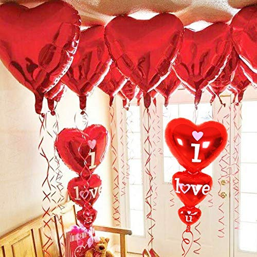 12 + 2 I Love You Balloons and Heart Balloons Kit - Pack of 14 - Valentines Day Decorations for Party | Valentines Day Balloons | Valentine Balloons | Pack of 10 Foil Mylar Red Heart Shaped Balloons]()