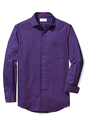 Buttoned Down Men's Classic Fit Supima Cotton Spread-Collar Pattern Non-Iron Dress Shirt, Red/Blue Plaid, XXX-Large 38/39 (Big and Tall)