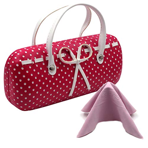 Pink Hard Eyeglass case with handles Women Eyeglass Case Mini handbag Eyeglass Case for girls Medium frames Small (AS12TG Polka Dots Pink)