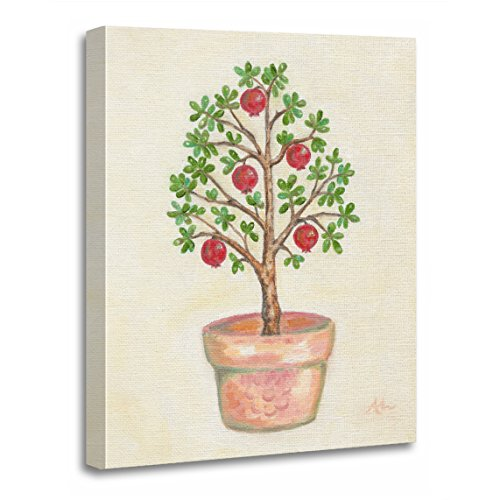 "TORASS Canvas Wall Art Print Red Topiary Pomegranate Tree Green Italian Artwork for Home Decor 12"" x 16"""