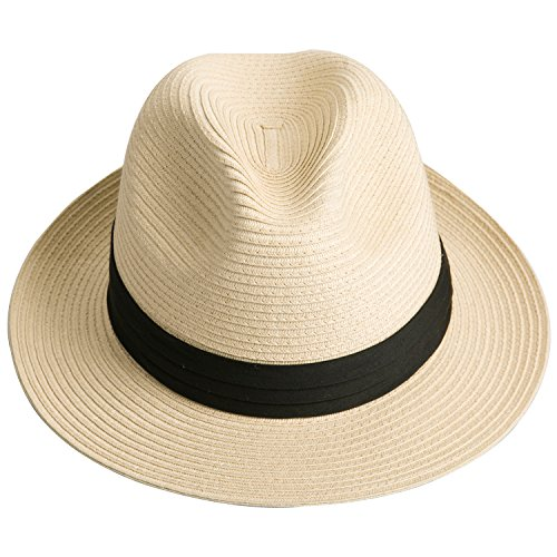 8236c8c7697c1 Sedancasesa Women and Men s Straw Fedora Panama Beach Sun Hat Black Ribbon  Band. L(7 1 2-60cm-23.62Inch)-Natural